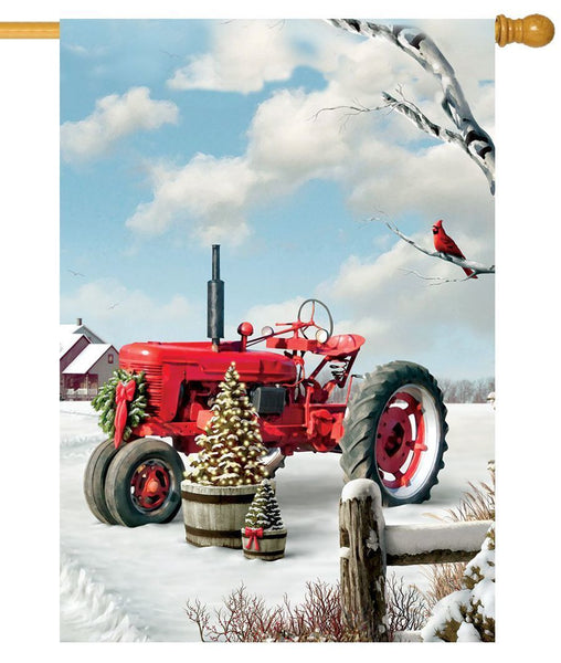 Red Christmas Tractor House Flag - All Decorative Flags/Holidays/Christmas Flags - I AmEricas Flags