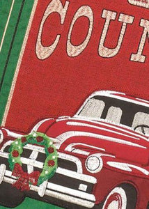 Red Christmas Truck Double Applique Garden Flag Detail 1