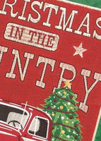 Red Christmas Truck Double Applique Garden Flag Detail 2