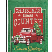 Red Christmas Truck Double Applique Garden Flag