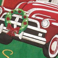Red Christmas Truck Double Applique House Flag Detail 1