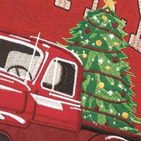 Red Christmas Truck Double Applique House Flag Detail 2