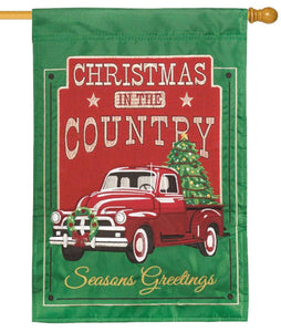 Red Christmas Truck Double Applique House Flag