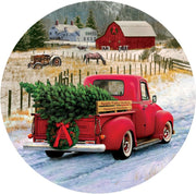 Red Pickup Truck Merry Christmas Farm Accent Magnet