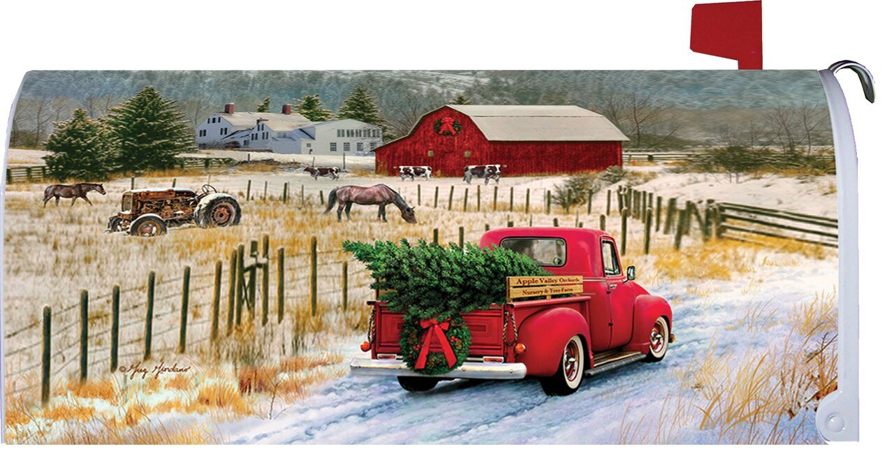 Red Pickup Truck Merry Christmas Farm Mailbox Cover I Americas Flags