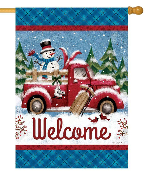 Red Pickup Truck in the Snow House Flag - All Decorative Flags/Seasons/Winter Flags - I AmEricas Flags