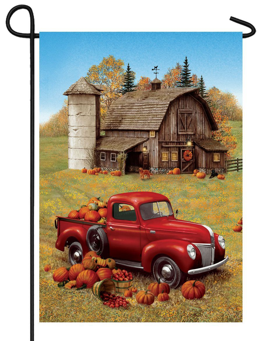 Red Pumpkin Truck and Barn Garden Flag