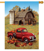 Red Pumpkin Truck and Barn House Flag