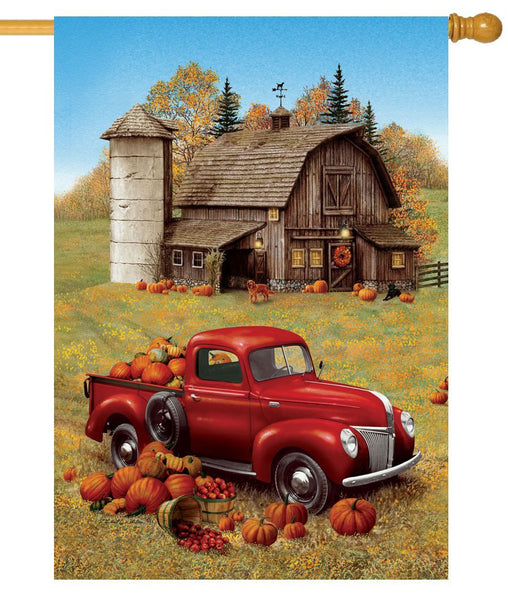 Red Pumpkin Truck and Barn House Flag - I AmEricas Flags