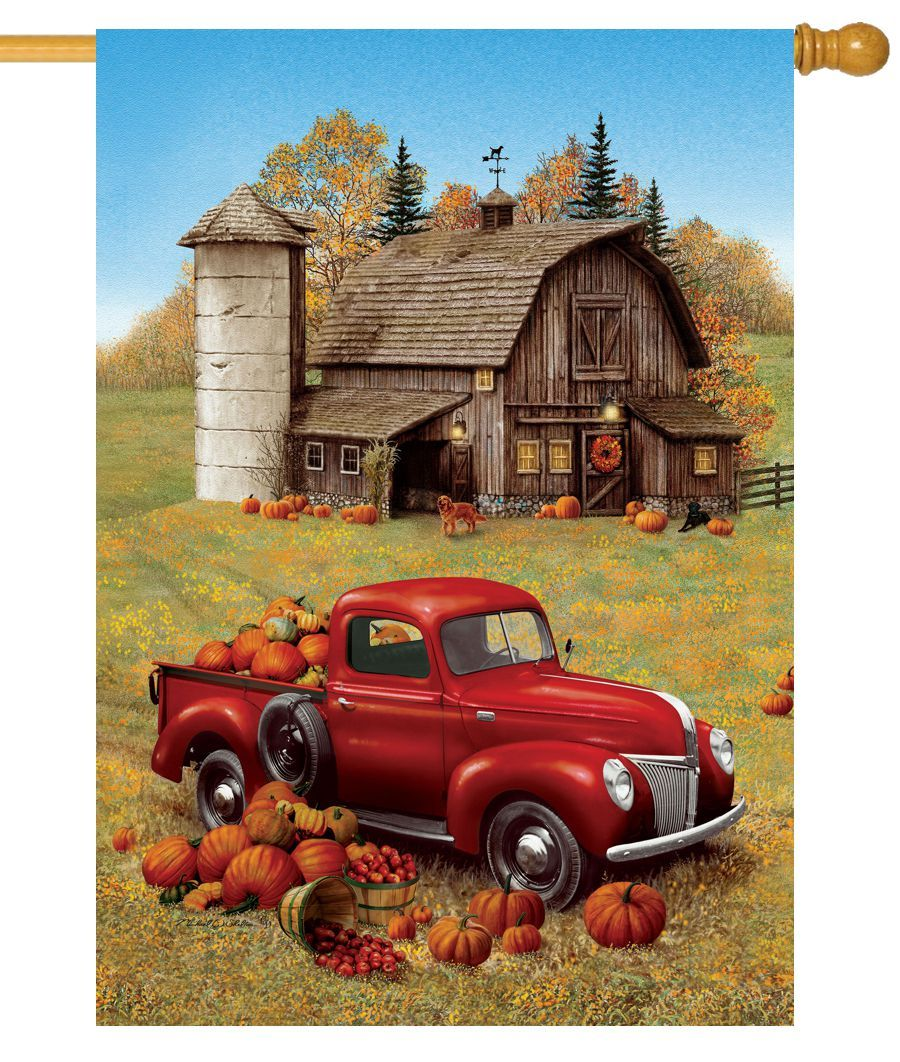 Red Pumpkin Truck And Barn House Flag I Americas Flags