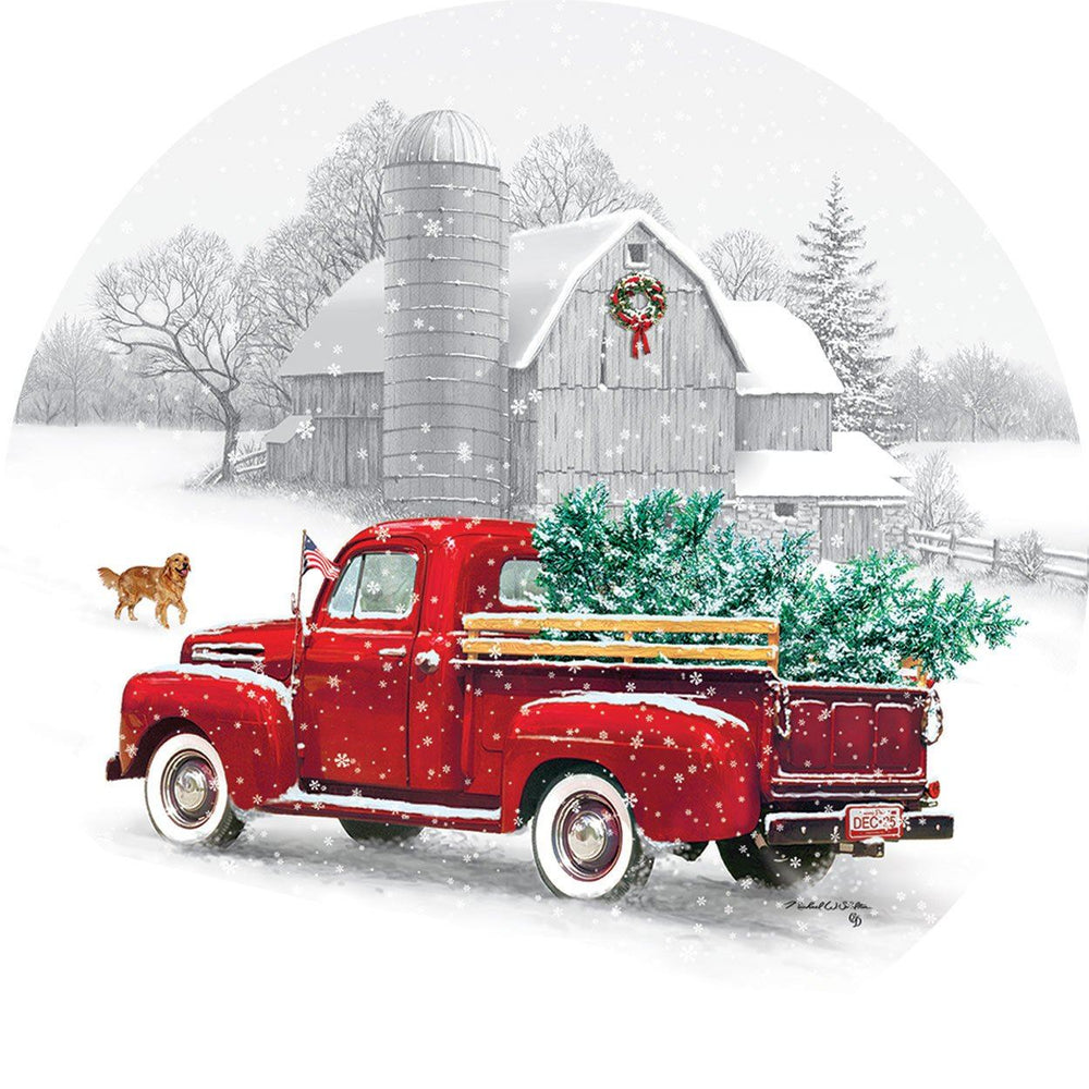 Red Truck and Christmas Tree Accent Magnet
