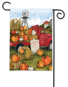Red Truck with Pumpkins For Sale Garden Flag