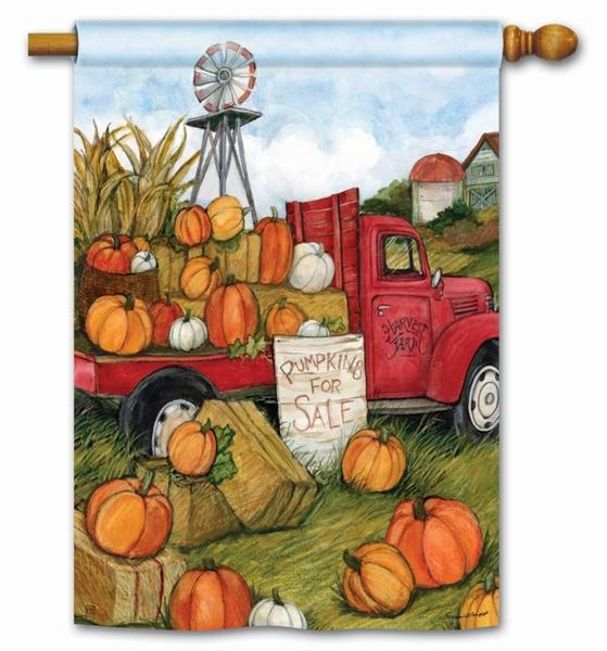 Red Truck with Pumpkins For Sale House Flag - I AmEricas Flags