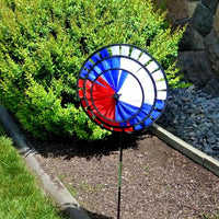 Red, White & Blue Triple Wind Spinner in Lawn