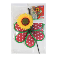Red and White Polka Dot Sunflower Wind Spinner Detail