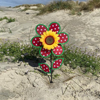 Red and White Polka Dot Sunflower Wind Spinner Live