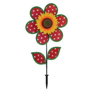 Red and White Polka Dot Sunflower Wind Spinner