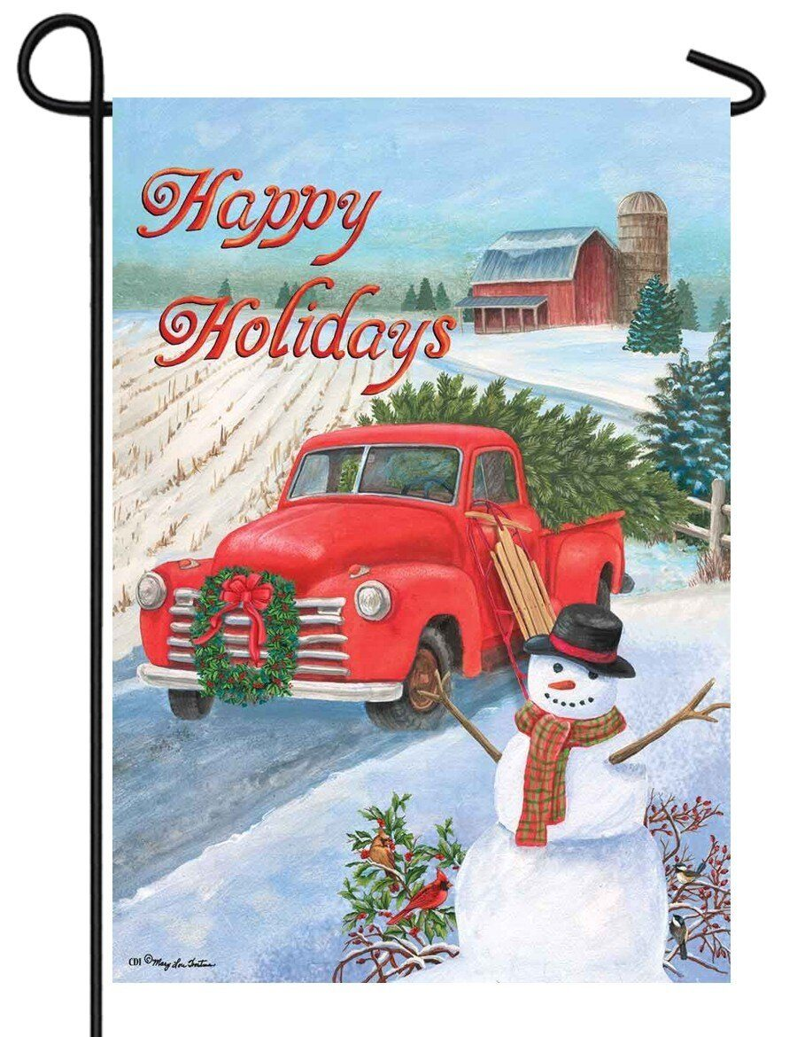 Red Pickup Truck Happy Holidays Garden Flag