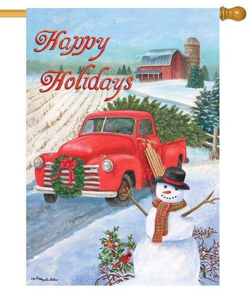 Red Pickup Truck Happy Holidays House Flag - All Decorative Flags/Holidays/Christmas Flags - I AmEricas Flags