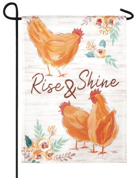 Rise and Shine Chickens Garden Flag - I AmEricas Flags