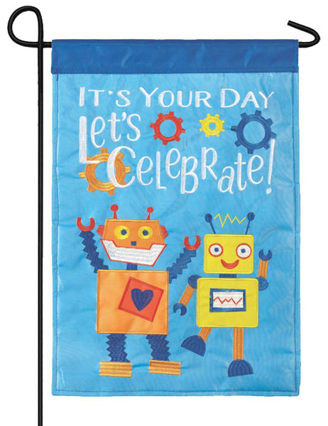 Robots Double Applique Garden Flag