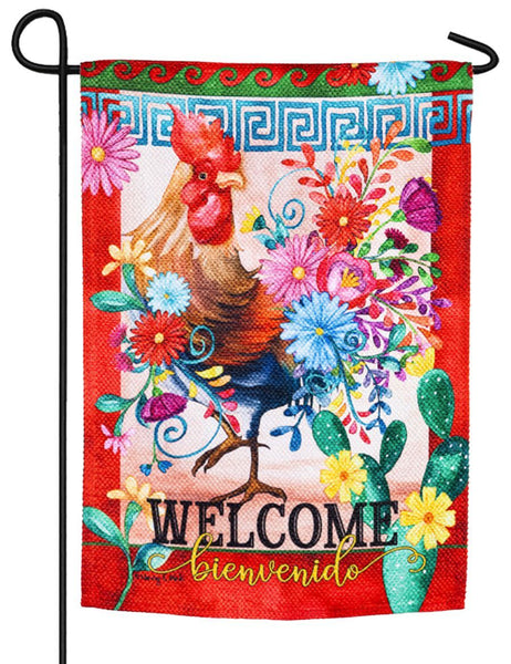 Rooster Cha Cha Textured Suede Reflections Garden Flag - I AmEricas Flags