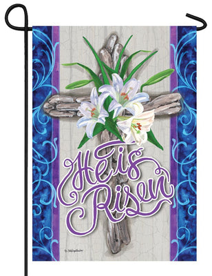 Rugged Cross and Lilies Garden Flag