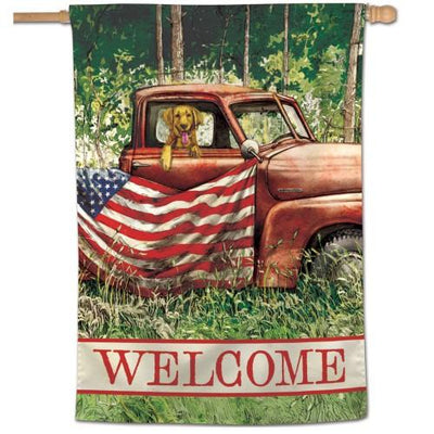 Rustic Patriotic Truck and Pup House Flag