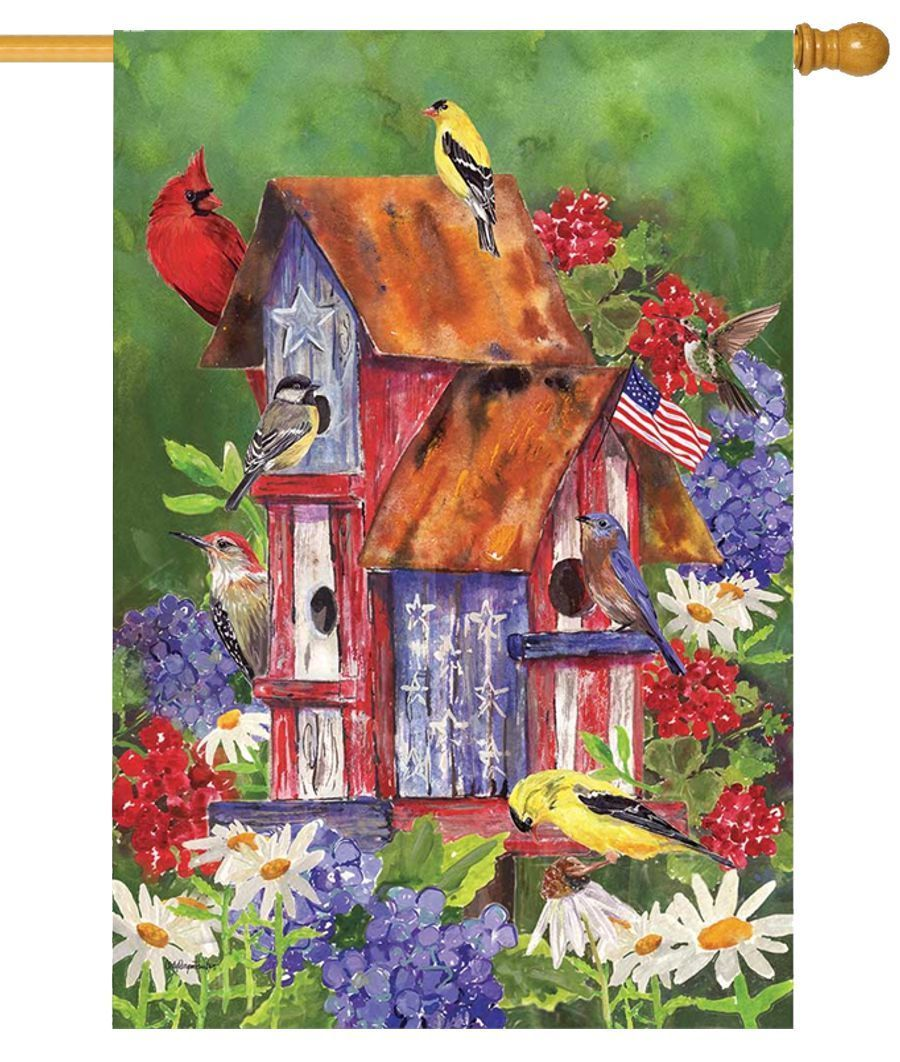 Rustic Patriotic Birdhouse House Flag
