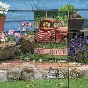 Rustic Patriotic Truck and Pup Garden Flag Live