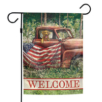 Rustic Patriotic Truck and Pup Garden Flag