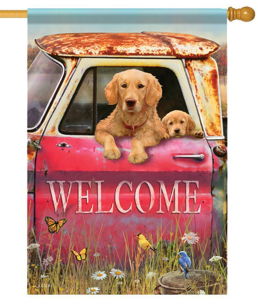 Rustic Truck and Retrievers House Flag - All Decorative Flags/Themes/Animal Flags/Dog and Cat Flags - I AmEricas Flags