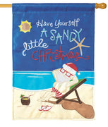 Sandy Little Christmas Double Applique House Flag
