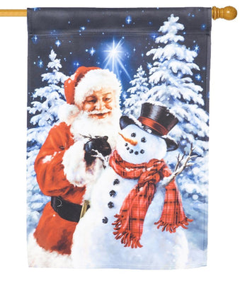 Santa Builds a Snowman Suede Reflections House Flag