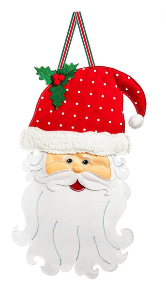 Santa Claus Face Decorative Felt Door Hanger - Door Hangers/Fall Christmas Winter Door Hangers - I AmEricas Flags