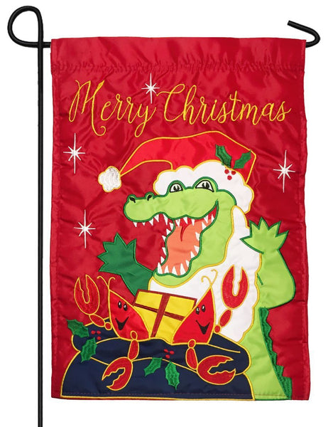 Santa Gator and Crawfish Double Applique Garden Flag - All Decorative Flags/Holidays/Christmas Flags - I AmEricas Flags