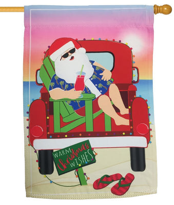 Santa at the Beach Suede Reflections House Flag