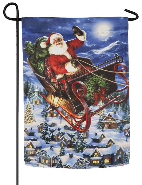 Santa in Flight Suede Reflections Garden Flag - All Decorative Flags/Holidays/Christmas Flags - I AmEricas Flags
