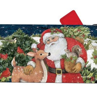 Santa with Forest Friends Mailbox Cover