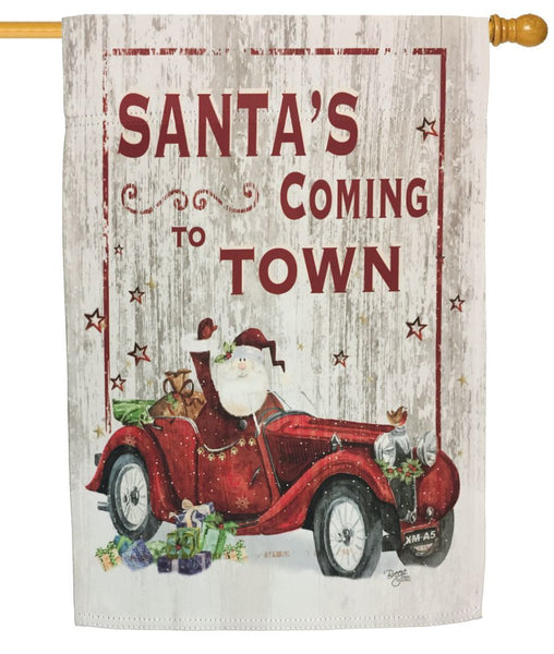 Santa's Coming to Town Sublimated House Flag