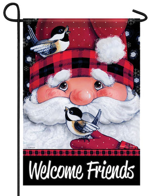 Santa's Feathered Friends Garden Flag