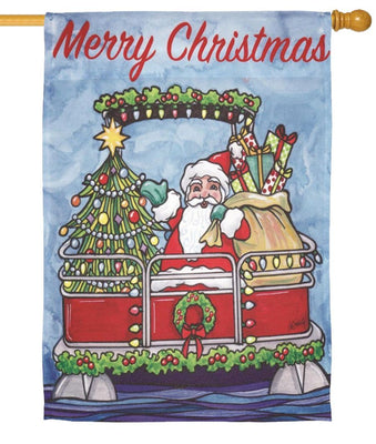 Santa's Pontoon Boat House Flag