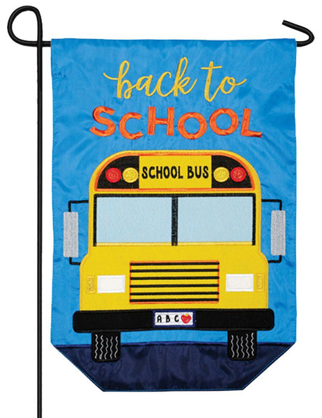 School Bus 2 Sided Applique Garden Flag Side 1