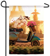 Scooter Pup Couple Suede Reflections Garden Flag