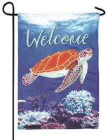 Sea Turtle Printed Applique Garden Flag