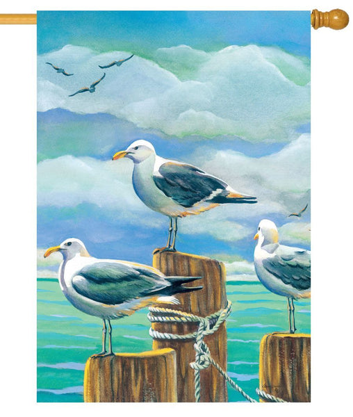 Seagull Pilings House Flag - I AmEricas Flags