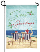 Seas Greetings Double Applique Garden Flag