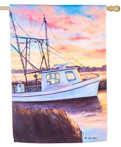 Shrimp Boat at Sunset Suede Reflections House Flag - All Decorative Flags/Themes/Coastal Nautical Beach Flags - I AmEricas Flags