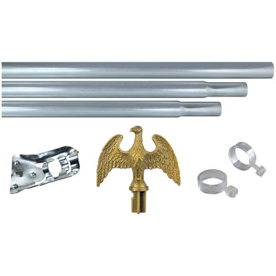 6ft Silver Three Piece Steel Flagpole Kit