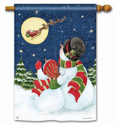 Snow Couple Santa Trackers House Flag